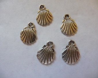 Charm, Antiqued, Silver Finished ,Pewter, Zinc based alloy, 9x9mm, double sided, shell, Pkg Of 10