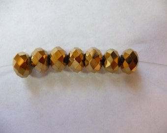 Beads, Metallic Gold, Faceted, Crystals, Rondelles, 8x5mm, Pkg Of 16