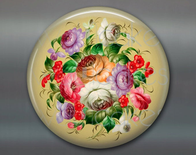"3.5"" floral fridge magnet, russian trays flower decor, kitchen decor, large magnet, stocking stuffer  MA-332"