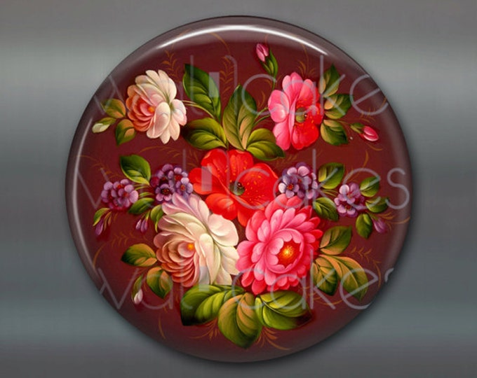 "3.5"" decorative magnet, floral fridge magnet, russian trays flower decor, kitchen decor, large magnet, stocking stuffer  MA-334"