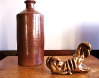 1800s salt glaze pottery ink bottle | high fired salt glaze ink bottle | 1895