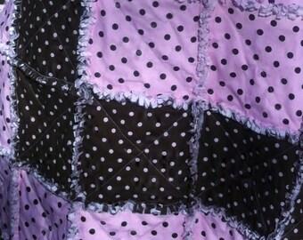 Brown/Pink Polka Dot Rag Quilt
