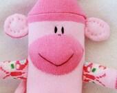 Baby Sock Monkey Dark Pink & Light Pink, Stuffed Animal