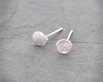 Round Textured Sterling Silver Post Stud Earrings, Small Silver Post Earrings, Jewelry By Naomi