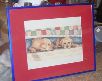 "COMPLETED AND FRAMED - Puppies ""Time Out"""