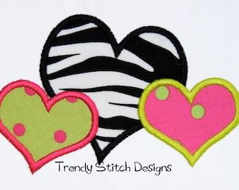3 Hearts Applique Design Machine Embroidery Design INSTANT DOWNLOAD