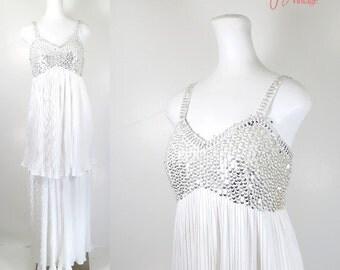 70s evening dress / 70s white dress silver sequins / 70s white evening gown / 1970s long evening dress / long empire waist dress / Modelly