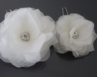 Organza Silk Flower Hair Pins-White, Off White, Ivory, Blush Pink, Champagne-Style No.520