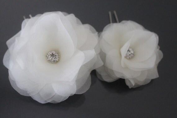 Bridal Hair Flower-Bridal Flower Headpiece-Silk Flower Hair Pins, White, Off White, Ivory, Blush Pink, Champagne-Style No.520