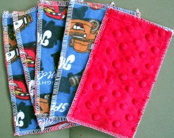 Kids Reusable Swipers - Cars Characters with Red Dimple Minky Hanky (set of 5)