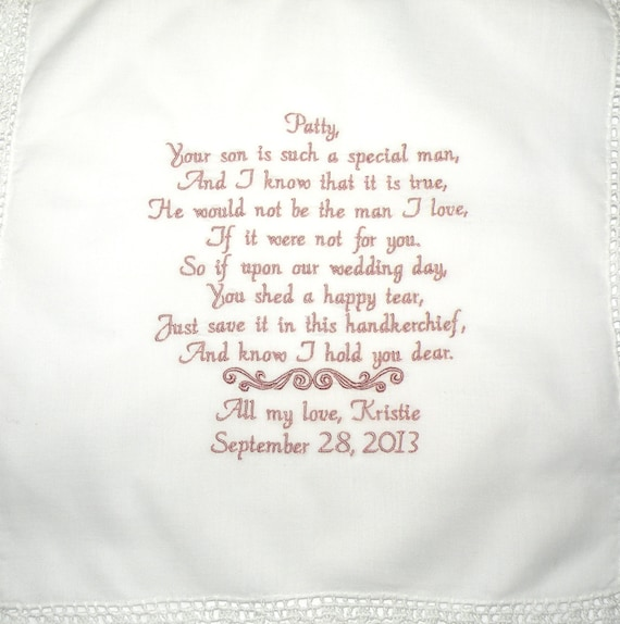 Personalized Hanky Poem Saying For Mother In Law Of The Bride