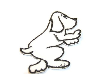 Dog Applique, White Dog Applique, Dog Patch, Black and White, Embroidered Applique, Embroidered, White, Doggy, Patch, Lot of 6