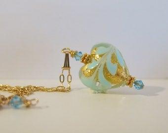 Venetian Glass Blue Heart 14K Gold Fill Necklace