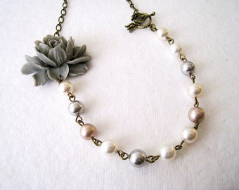 Elegant Grey Flower with Pearls Necklace.