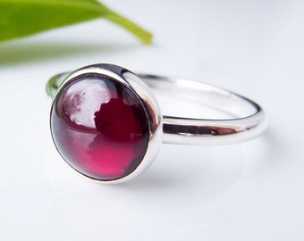 Garnet Ring in Sterling Silver. Gemstone ring. Garnet Stacking Ring