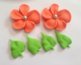 60 royal icing flowers and 50 leaves