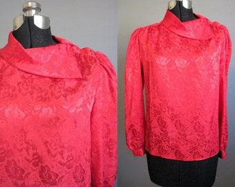 Red Blouse Top Vintage Secretary 80s Shirt Medium