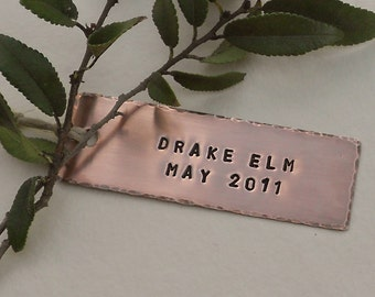 Tree Tags, Personalized Tree Markers, Copper, Custom Hand Stamped