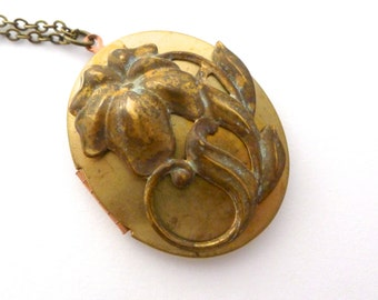 Verdigris Lily Locket, Spring Flower in aged brass on a large locket, long chain, handmade jewelry