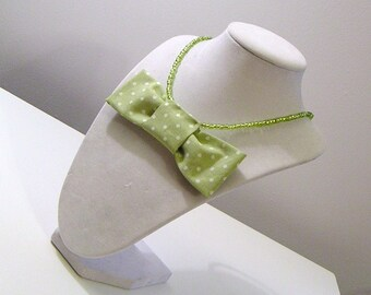 Green and White Polka Dot Bow One of a Kind Statement Necklace - Fun with Fabric Collection