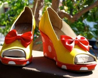 KOOAK Kustom Hand Painted Toms Wedges - Little Miss Minnie