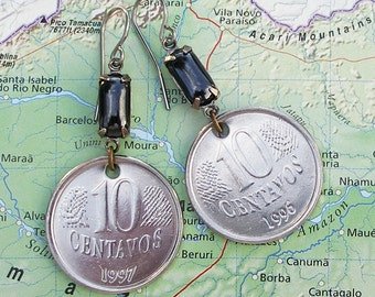 Brazil, Authentic Coin Earrings --- 10 Centavos --- World Travel - UpCycled Jewellery - Money - Brazilian Coins - Eco Travel - Brasil