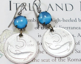 Italy, Vintage Coin Earrings --- Dancing Dolphins 2 --- Sailors Friend - Neptune's Messenger - World Travel - Old Money - Boho Style - Ocean