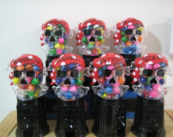 Personalized Pirate theme Party Favor Gumball Machines with gumballs and gift wrapping - Great Favor for Birthdays, Christenings, Communions