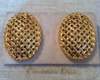 Gold Basket Weave Vintage CHRISTIAN DIOR Clip Earrings