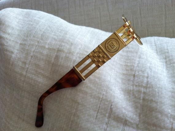wide gold arm vintage fendi logo eyeglass frames