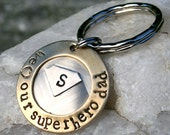 Personalized Father's Day - Superhero Dad/Superhero Grandpa/Superhero Uncle - hand forged and hand stamped keychain/keyring - Superman