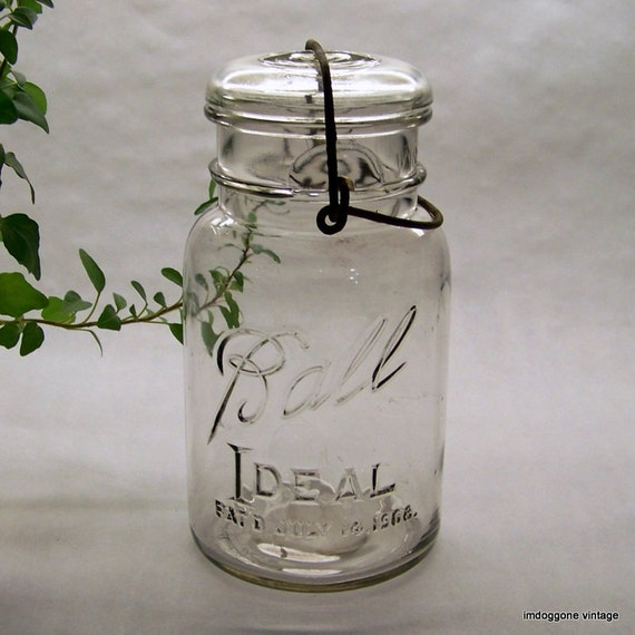 vintage ball canning fruit jar with lid and wire bale