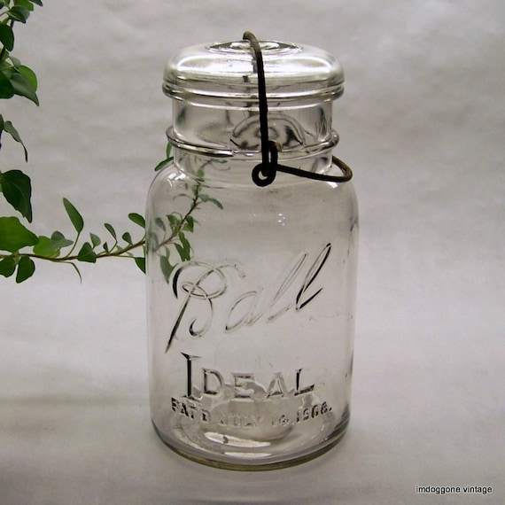 Vintage ball canning fruit jar with lid and wire bale - Decorative fruit jars ...