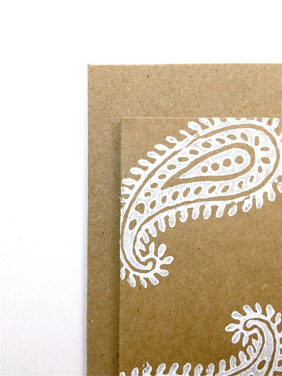 Paisley Note Cards - Indian Block Print - Blank Stationery