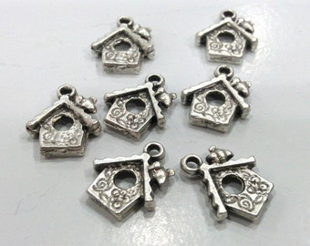 10 Pcs  Antique Silver Plated Metal Bird House Charms,Pendant  G494