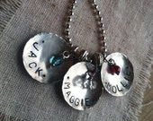 Mommy necklace disc personalized charm necklace