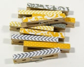 Clothespins.  Set of Ten. Mixed Grey and Gold, Yellow