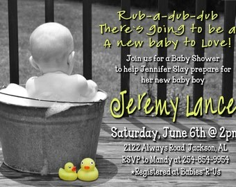 Rub A Dub Dub Baby Shower Invitation for a BOY or GIRL