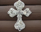 CUSTOM Wall Cross Art Assemblage Silvertones Off White  Cream Vintage Jewelry Antique Buttons Rhinestones Glitter