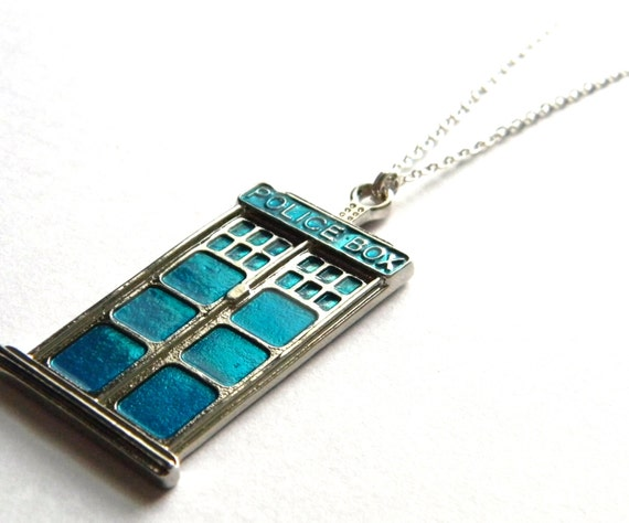 TARDIS Pendant Necklace - Doctor Who Themed - Charm - Vibrant Blue Police Call Box - Gifts Under 15, 20, 25