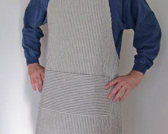 Full Apron Man Hemp Apron Indigo stripes Work apron