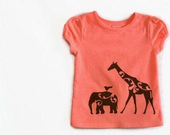 Girls Screenprinted Shirt Giraffe and Elephant