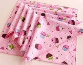 Set Of Five Pink Cupcakes And Hearts Fabric Napkins
