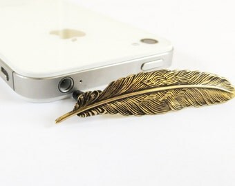 Feather Cell & iPhone Dust Plug- Cellphone/ iPhone Accessories- Antiqued Brass