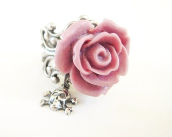 Pink Rose Skull Ring- Antique Silver Adjustable Ring- Skull Ring Pink