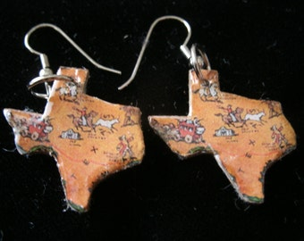 vintage texas puzzle piece tiny earrings