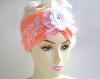 Orange Tropical Turban Headband, Tangerine Headband, Orange Peach Headband