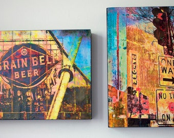 Two 9x12 inch wood panels, Minnesota art, wall art, Minneapolis art, Grain Bell beer, Uptown art, Minneapolis art, small space, hang ready