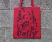 Classic Dolly Parton tote bag stencil and spray paint art by Rainbow Alternative on Etsy