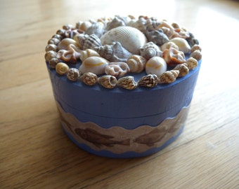 Wood Box with Shell Mosaic and Fish Decoupage